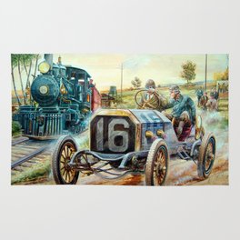 Vintage Cars Racing Scene,train painting Rug