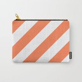 Coral diagonal striped pattern Carry-All Pouch