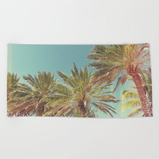 Retro Summer Palm Trees Beach Towel
