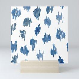 Brushstrokes of blue paint Mini Art Print