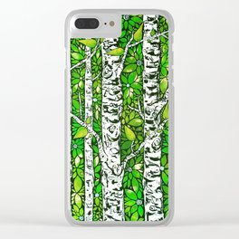 Green Birch Forest Clear iPhone Case