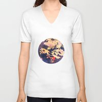 vintage floral V-neck T-shirts featuring Floral by wendygray