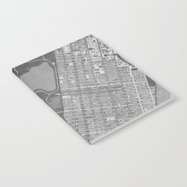 Vintage map of Manhattan Central park in gray Notebook