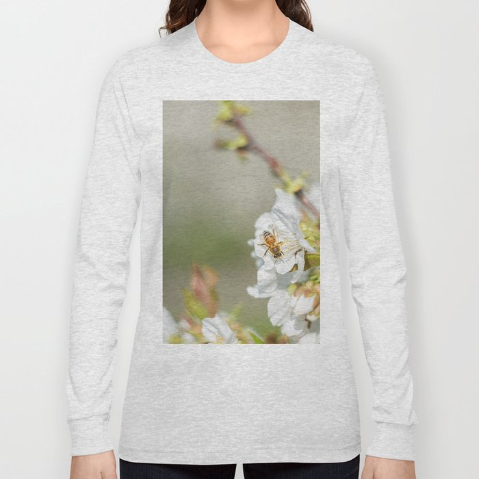 Bee laid on white flowers of a cherry tree Long Sleeve T-shirt