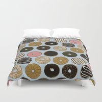 doughnut Duvet Covers featuring Doughnut Pattern by Blue Laurel Paper Co