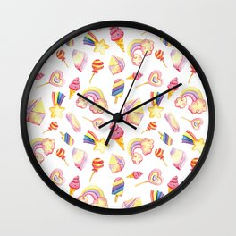 Pink yellow hand painted abstract sweet summer geometric pattern Wall Clock