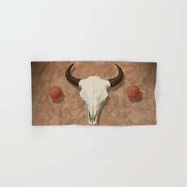 Bison Skull with Rose Rocks Hand & Bath Towel