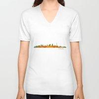 kansas city V-neck T-shirts featuring Kansas City Skyline Hq v1 by HQPhoto