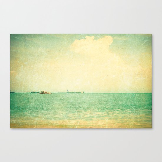 Old sea (vintage textured beach and green sky) Canvas Print