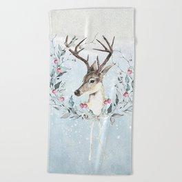 Winter deer Beach Towel