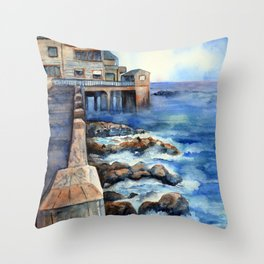 Walking with Steinbeck on Cannery Row Throw Pillow