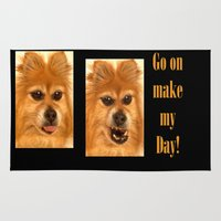 pomeranian Area & Throw Rugs featuring Pomeranian dog (slightly distorted like her personality) lol by Bruce Stanfield
