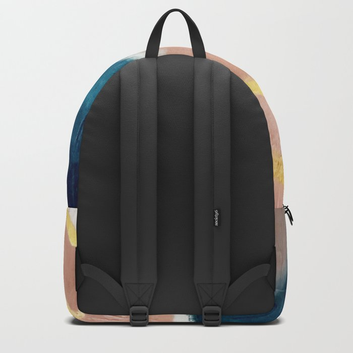 Exhale: a pretty, minimal, acrylic piece in pinks, blues, and gold Rucksack