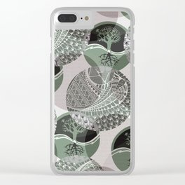 Zentangle and Tree Motifs in Circles Clear iPhone Case