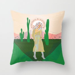 Wild-Eyed & Wandering, Woman and Cactus Contemporary Illustration Throw Pillow
