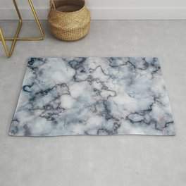 Blue Grey and Rose Gold Veined Faux Marble Repeat Rug