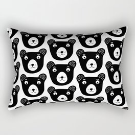 Cute black and white bear illustration Rectangular Pillow