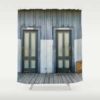 doors Shower Curtains featuring Bathroom Doors by Agrofilms