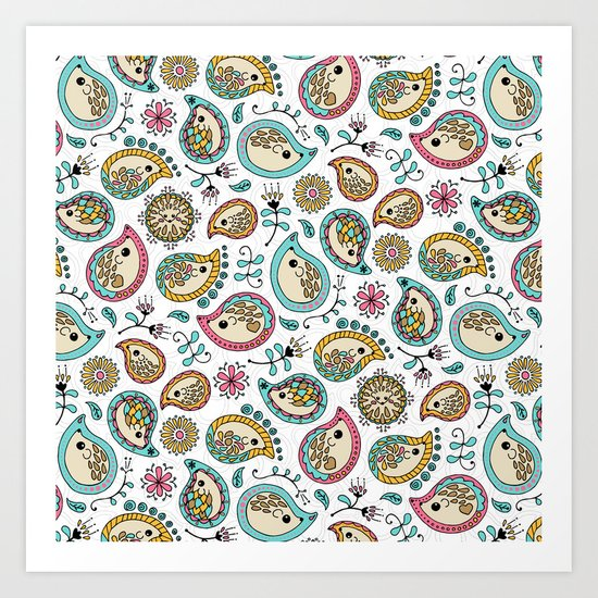 Hedgehog Paisley_Colors and White Art Print