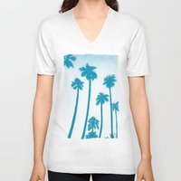 palm trees V-neck T-shirts featuring Palm Trees by Christine Zimmerman