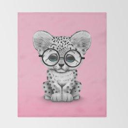 Cute Snow Leopard Cub Wearing Glasses on Pink Throw Blanket