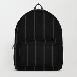 Dark Grey Pinstripes on Black | Wide Vertical Pinstripes | Backpack