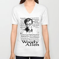 woody allen V-neck T-shirts featuring Woody Allen by Mark Matlock