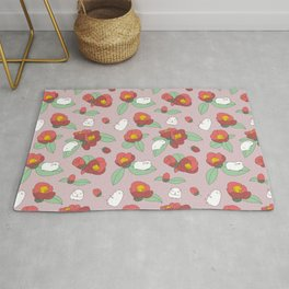 Japanese Camellia and Albino Guinea Pig Pattern Rug