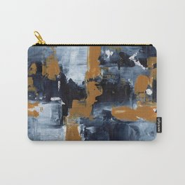 Ejaaz Haniff Abstract Acrylic Palette Knife Painting Paynes Grey White Yellow Ochre: 'Gold Rush' Carry-All Pouch