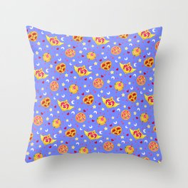 Sailor Moon Brooches Pattern - Blue / Sailor Moon Throw Pillow