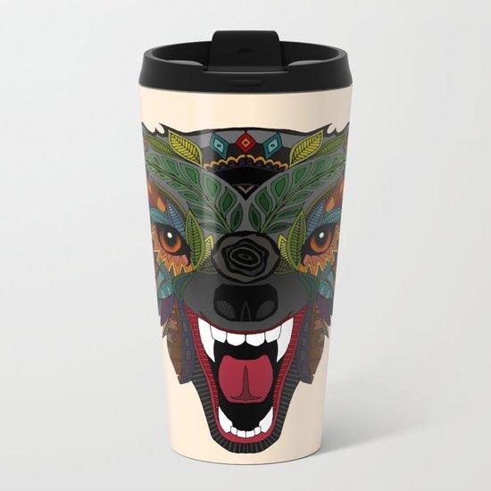 wolf fight flight ecru Metal Travel Mug