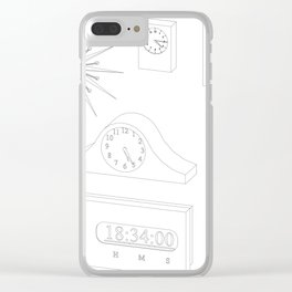 models of desktop and wall clocks Clear iPhone Case