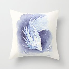 Snowy dragon Throw Pillow