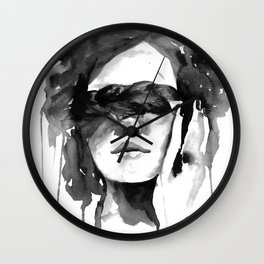 Watercolour Fashion Illustration Girl with the Plait in Her Hair Wall Clock