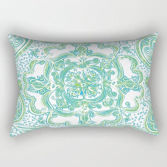 Paisley Mandala - Blue & Green Rectangular Pillow