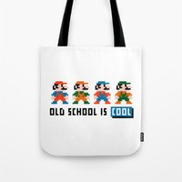 mario Tote Bags featuring Mario by PixelPower