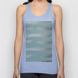 Simply Brushed Stripe White Gold Sands on Pastel Cactus Green Unisex Tank Top