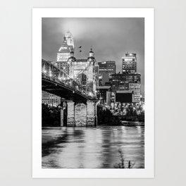 Cincinnati Ohio Skyline and Bridge - Black and White Art Print