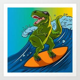 Cartoon illustration of a dinosaur surfing. Art Print