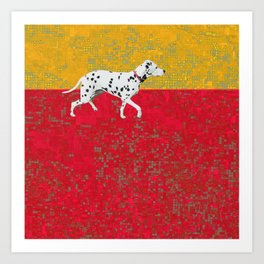 Dalmation in red and yellow Art Print