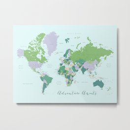 Adventure awaits world map green and purple Metal Print
