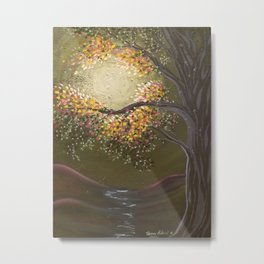 Moonlight Dance, tree and light art, moonlight, river valley Metal Print