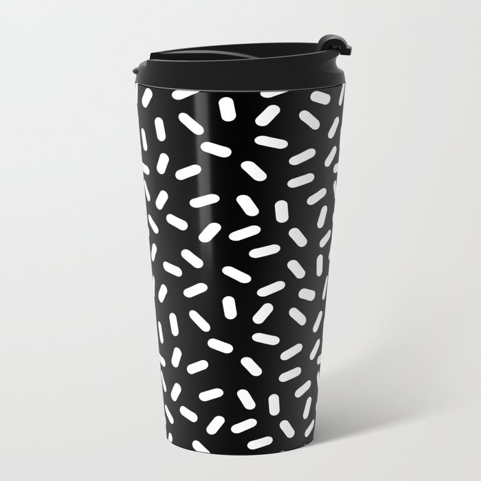 Bingo - black and white sprinkle retro modern pattern print monochromatic trendy hipster 80s style Metal Travel Mug