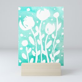 Whimsical watercolor flowers – turquoise Mini Art Print