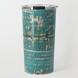 Rustic Wood Turquiose Paint Weathered Travel Mug