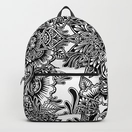 Freehand Symmetry Full Page B&W Mandala Backpack