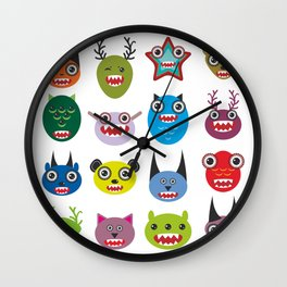 Cute cartoon Monsters Set. Big collection on white background Wall Clock