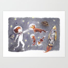 Foxes in space Art Print