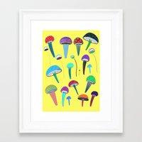mushrooms Framed Art Prints featuring Mushrooms  by Ashley Percival illustration