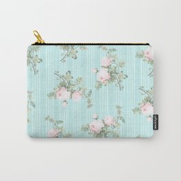 Shabby chic roses pink and mint Carry-All Pouch